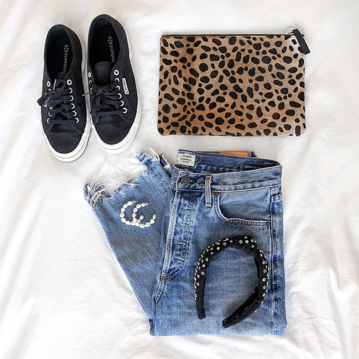 Shopbop Sale Picks: Superga Classic Sneakers, Clare V Leopard Pouch, Lele Sadoughi Embellished Headband, BaubleBar Pearl Hoop Earrings, Citizens of Humanity Charlotte High-Rise Jeans with Frayed Hem