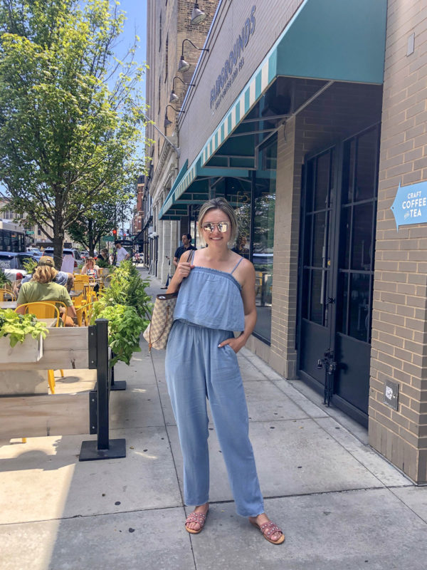 Chambray Jumpsuit by Splendid with Marc Fisher Slide Sandals