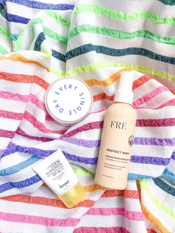 Fashion and beauty blogger Bows & Sequins shares reviews of her favorite sunscreens: Supergoop Unseen Sunscreen, Superscreen Daily Moisturizer, and Fre Skincare Protect Body SPF