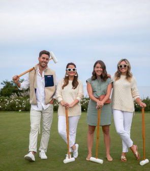 John Philp Thompson, Jenn Lake, Liz Adams, and Jessica Sturdy wearing Vineyard Vines to play croquet at Ocean House in Watch Hill, Rhode Island