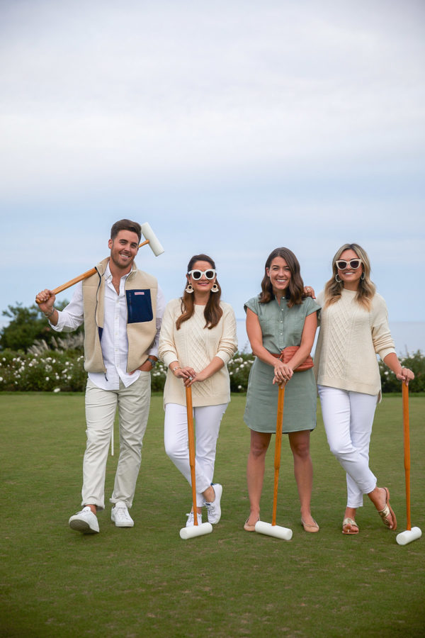 John Philp Thompson, Jenn Lake, Liz Adams, and Jessica Sturdy wearing Vineyard Vines to play croquet at Ocean House in Watch Hill, Rhode Island
