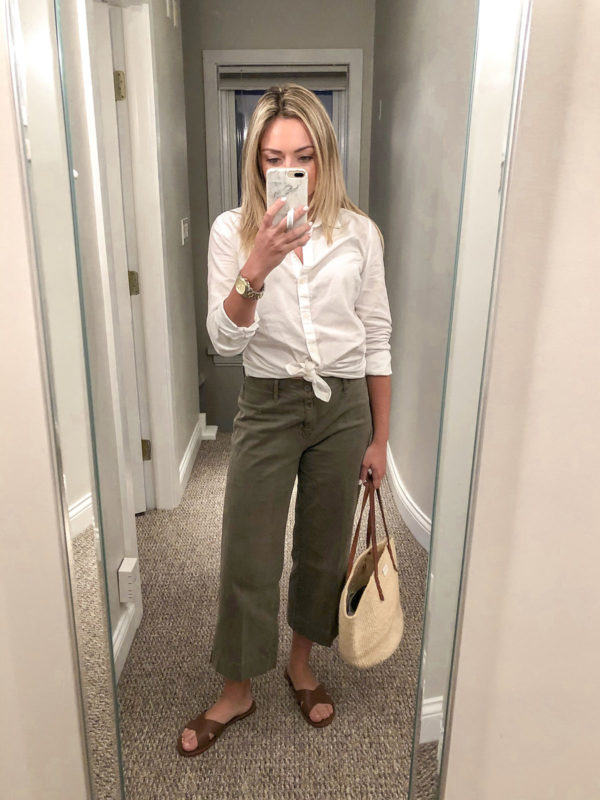 White Collared Shirt with Olive Green Chino Pants