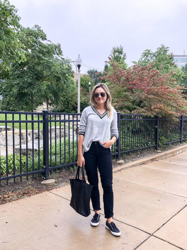 Chicago blogger Bows & Sequins wearing a black & grey varsity V-Neck Sweater, black Paige Hoxton Jeans, and Superga sneakers at Ipsento Coffee off the 606 Trail.