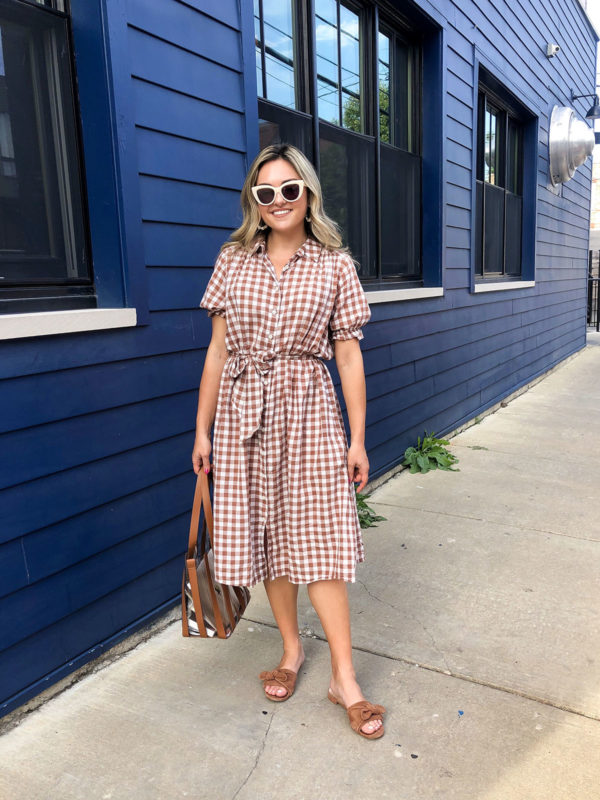 Chicago style blogger Bows & Sequins wearing a gingham shirt dress by The Great in front of Lonesome Rose in Logan Square