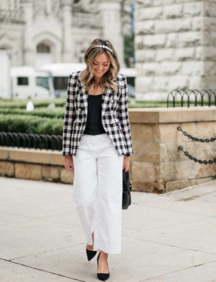 Chicago fashion blogger Jessica Sturdy of Bows & Sequins wearing a gingham blazer and wide leg pants.