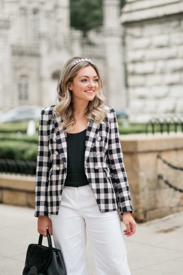 Chicago blogger styling a Veronica Beard Miller Dickey Jacket for the office.