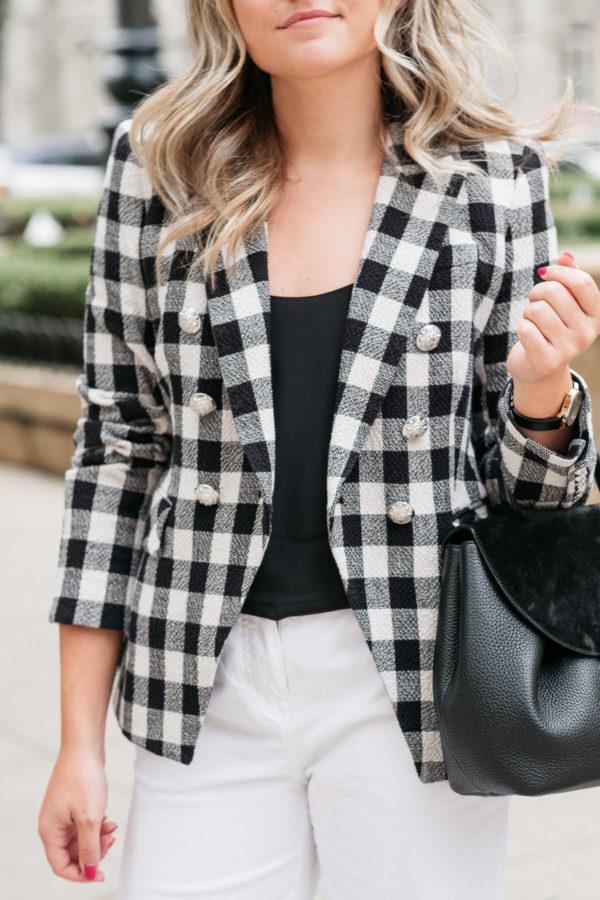 Veronica Beard Miller Dickey Jacket in Black & White Gingham