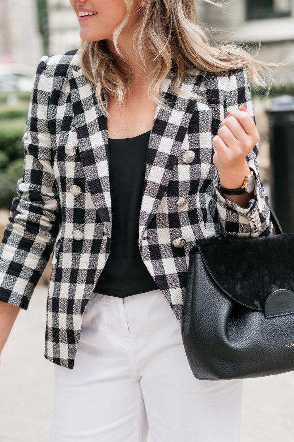 Veronica Beard Miller Dickey Jacket, Mott & Bow Black Silk Cami, Polene Paris Numero Uno Satchel