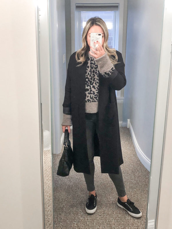 Fashion blogger Bows & Sequins styling a Marissa Webb grey leopard sweater with a Les Petites Paris long black duster coat, Superga sneakers, and grey Old Navy Rockstar Skinny Jeans.