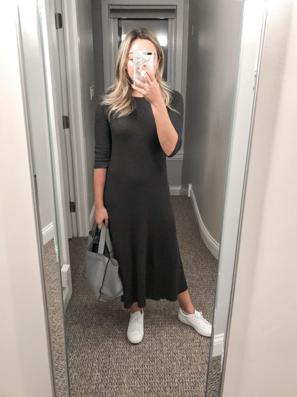 Mango ribbed maxi sweater dress in dark grey with Keds Ace white leather sneakers outfit.