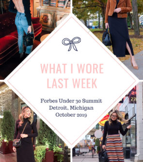 Lifestyle blogger Bows & Sequins shares her outfits from the Forbes Under 30 Summit in Detroit.