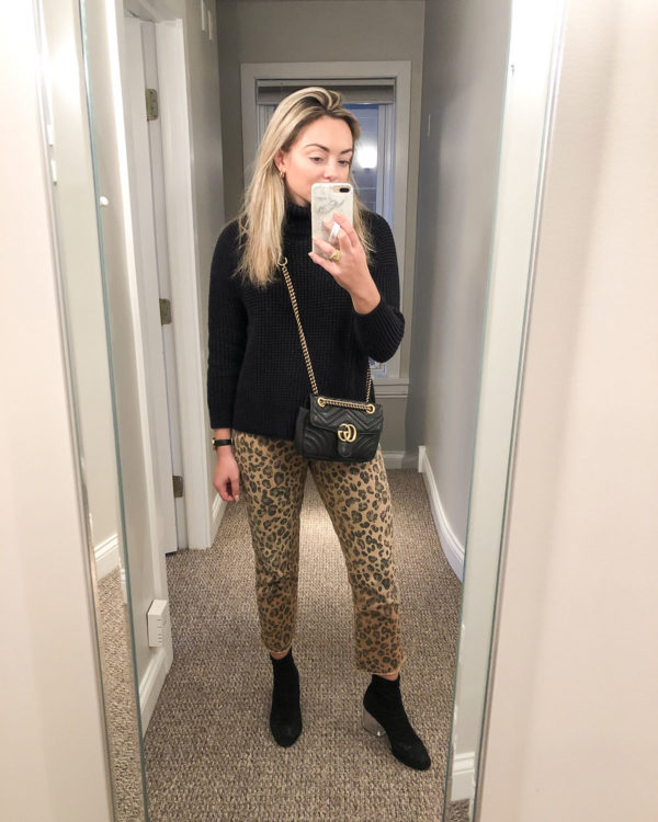 Chicago fashion blogger wearing leopard print jeans with Gucci Marmont bag.