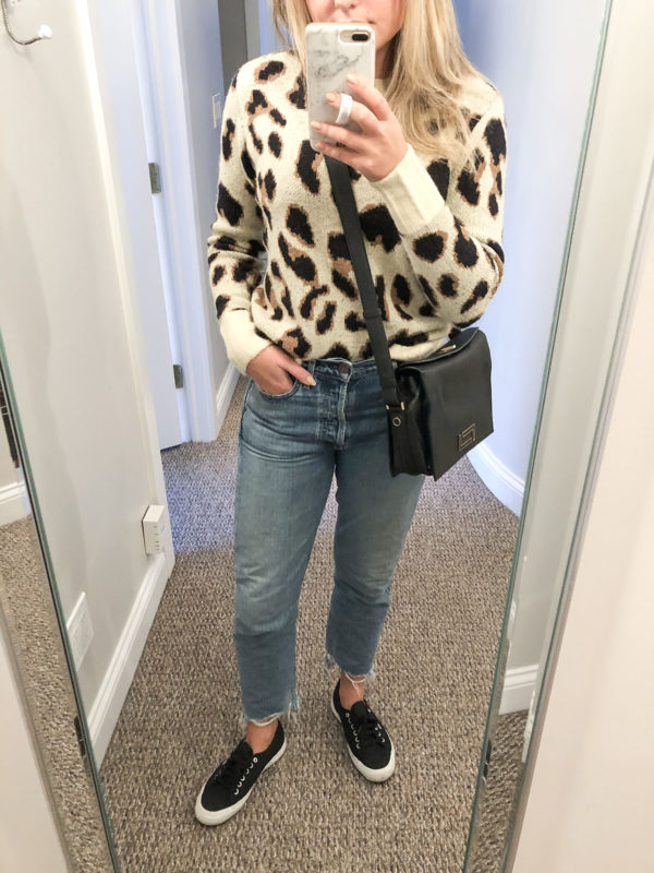 Chicago blogger wearing leopard print sweater from Revolve.