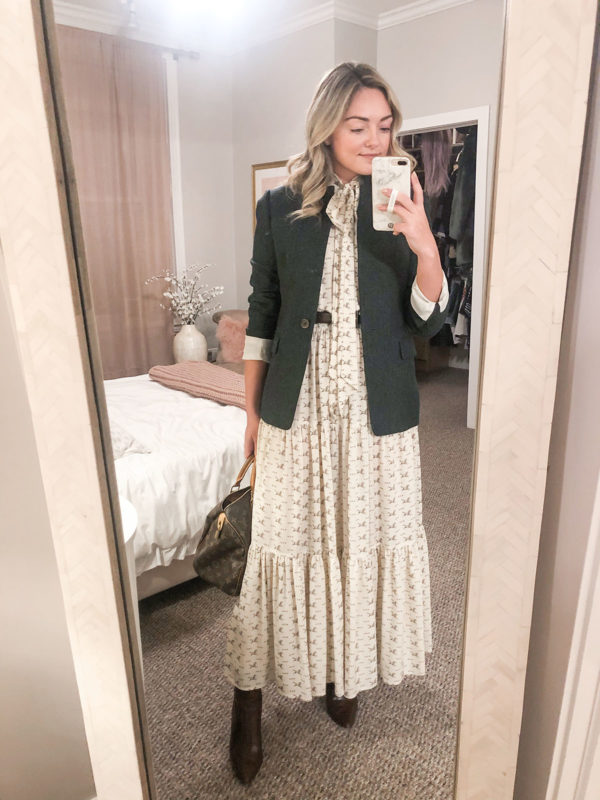Preppy fashion influencer wearing a Polo Ralph Lauren equestrian print tie neck maxi dress with a Louis Vuitton bag, brown croc accessories, and a green blazer from J.Crew.