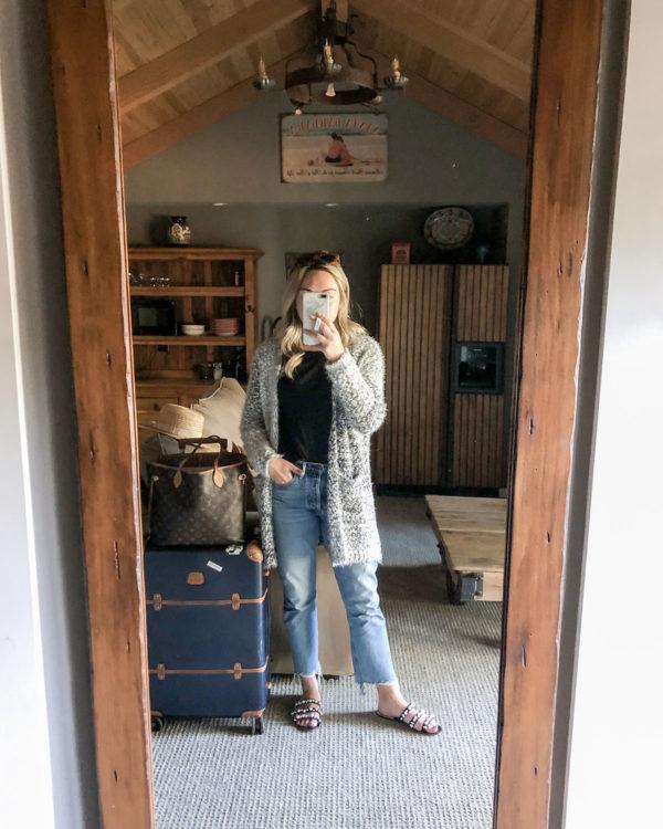 """Bobeau eyelash sweater, Citizen Charlotte crop jeans, Bric's Bellagio Navy 27"""""""