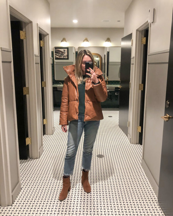 Bagatelle Brown Leather Puffer, Raw Hem Jeans, Cognac Suede Ankle Booties