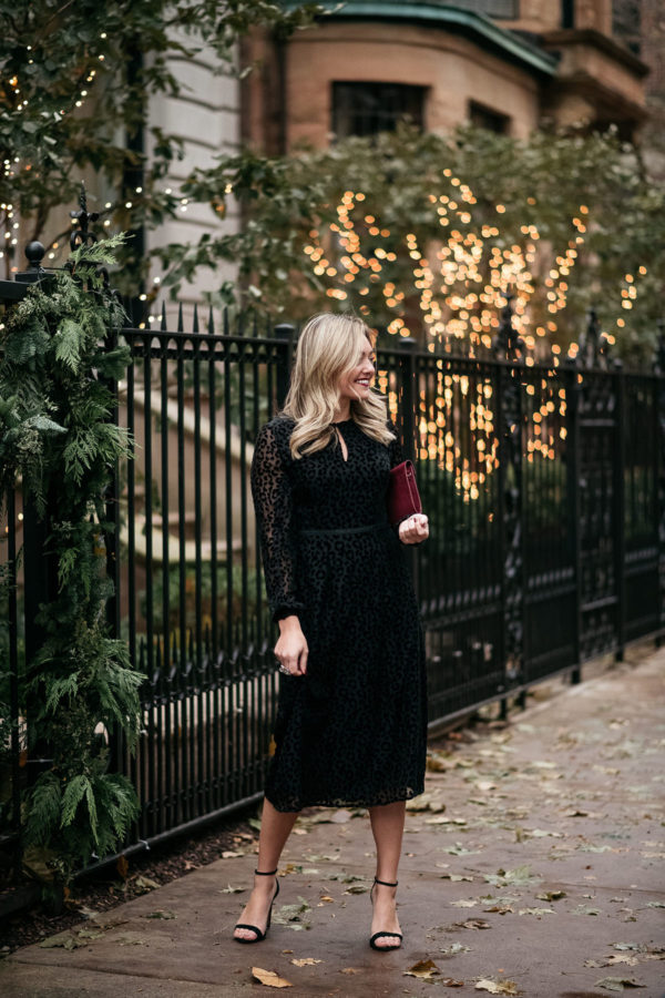 Chicago fashion blogger Jessica Sturdy styling a black velvet dress for a holiday party.