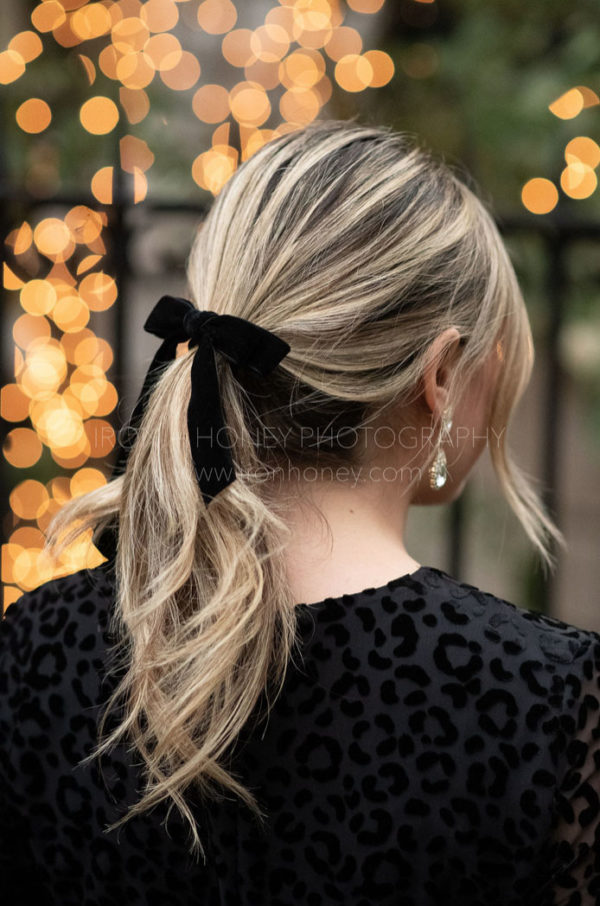 black velvet bow hair tie holiday