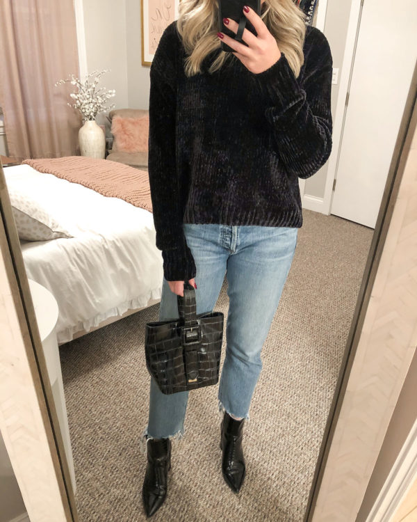 Chenille Sweater, Citizens of Humanity Charlotte Jeans, Brahmin Bag, Marc Fisher Booties
