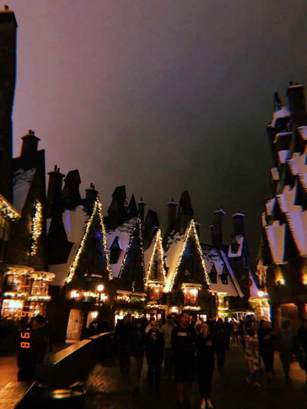 Hogsmeade Village at night with Christmas Lights