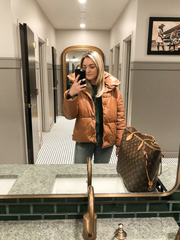 Bagatelle Leather Puffer Coat Louis Vuitton Neverfull Outfit