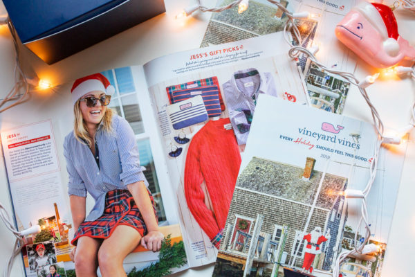 Fashion blogger Jessica Sturdy of Bows & Sequins modeling for Vineyard Vines Holiday 2019 catalog at Ocean House in Watch Hill, Rhode Island