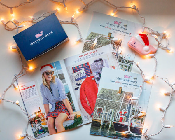 Preppy fashion blogger Bows & Sequins modeling in Vineyard Vines' Holiday Catalog.