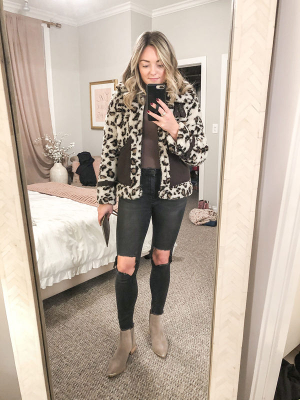 Chicago fashion blogger wearing leopard sherpa coat with a bodysuit and One Teaspoon jeans with Marc Fisher booties to a concert at Aragon Ballroom.