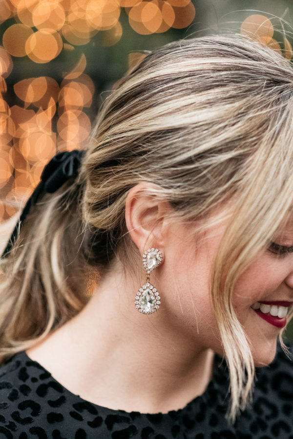 Feminine style blogger Bows & Sequins wearing Loren Hope earrings.