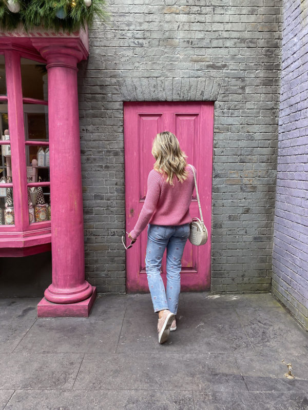 J.Crew Pink Sweater, Rebecca Taylor Embroidered Jeans, Pink Sneakers, Brahmin Lane Melbourne Bag