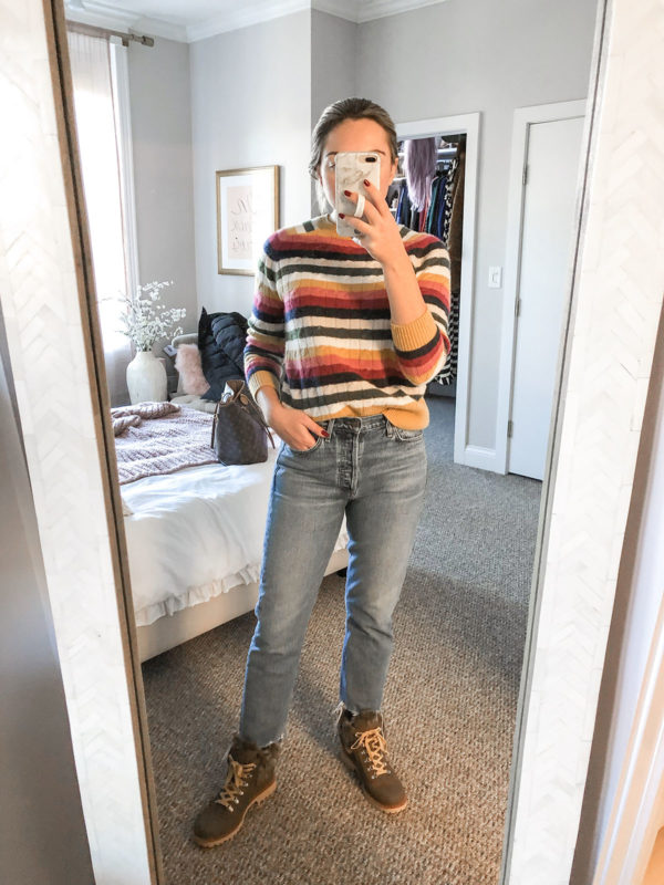 Rainbow Stripe Cashmere Sweater, Mom Jeans, Fur Booties