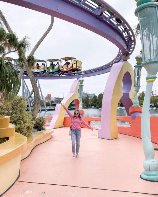 Travel blogger Bows & Sequins at Seuss Landing at Universal Studios in Orlando, Florida.
