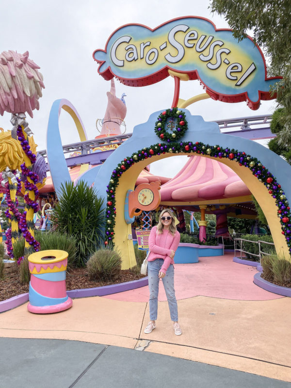 Travel blogger Bows & Sequins at Seuss Landing at Universal Studios in Orlando, Florida.
