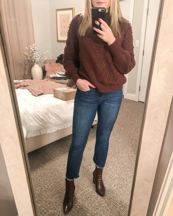 Sezane Brown Sweater Outfit