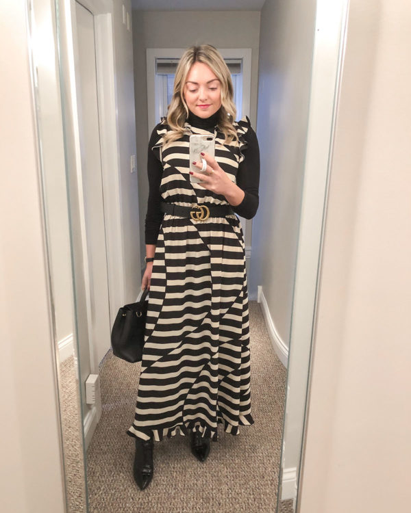 Fashion blogger Bows & Sequins styling a Stine Goya dress with a turtleneck underneath and a Gucci belt.