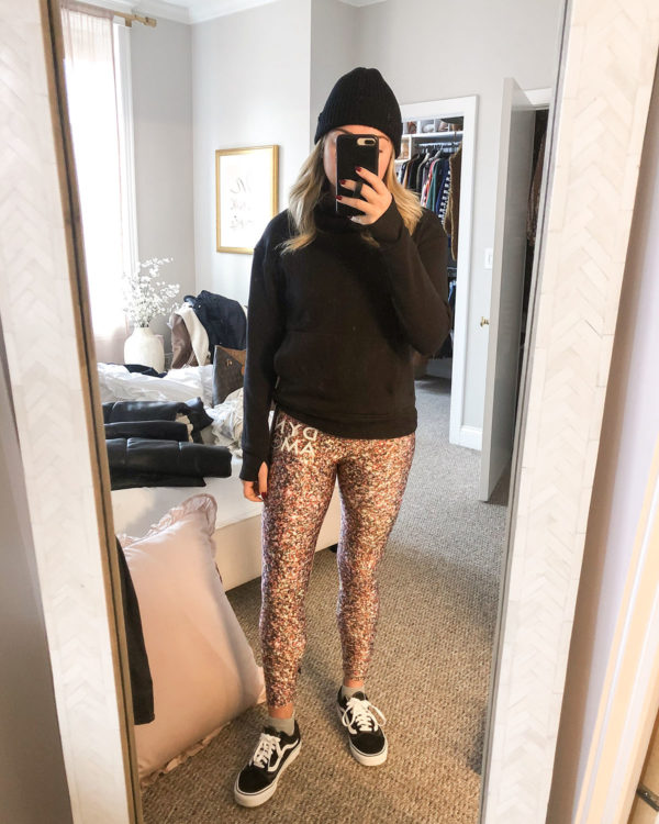 Lululemon beanie, Lululemon Scuba turtleneck, Terez glitter leggings, Vans sneakers