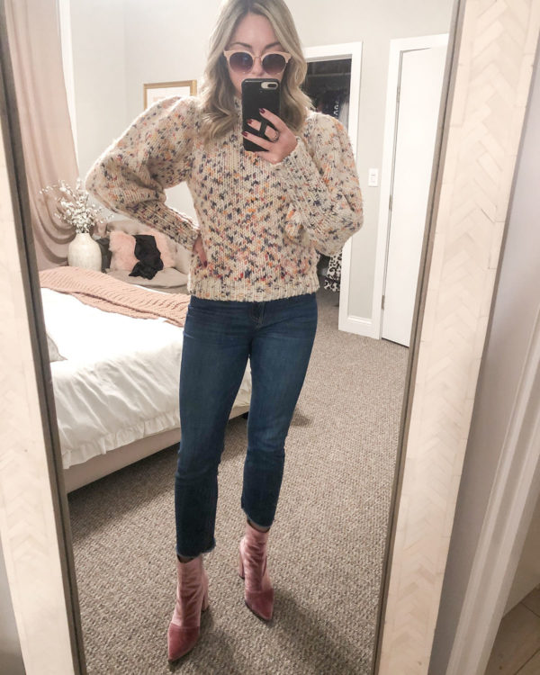 Ulla Johnson Multicolored Puff Sleeve Pullover Sweater, Cropped Raw Hem Ankle Jeans, Robert Clergerie Pink Velvet Booties