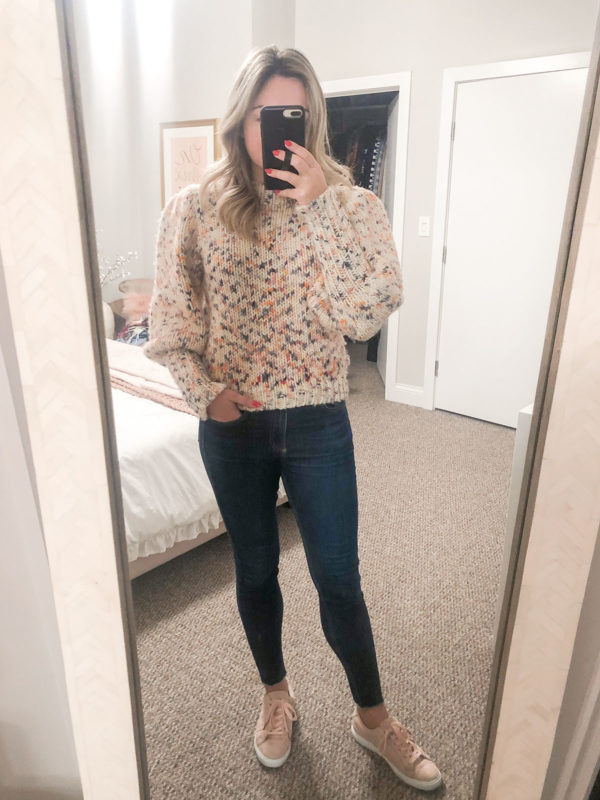 Ulla Johnson Moxie Sweater, Rag & Bone Jeans, Pink Suede Sneakers