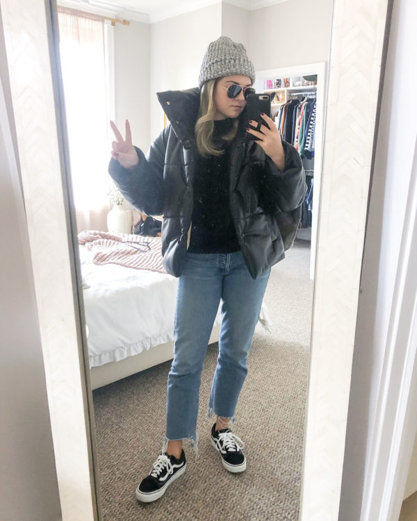 Love Your Melon beanie, Nanushka Faux Leather Puffer, Citizens of Humanity Charlotte Crop Jeans, Vans Sneakers