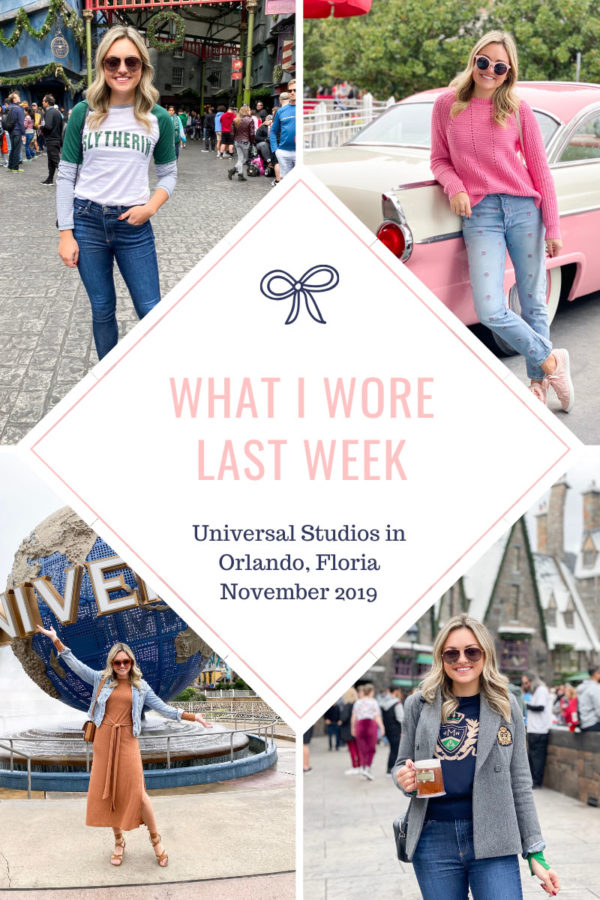 Travel blogger Bows & Sequins shares what she wore in Orlando, Florida at Universal Studios, Islands of Adventure, and the Wizarding World of Harry Potter.