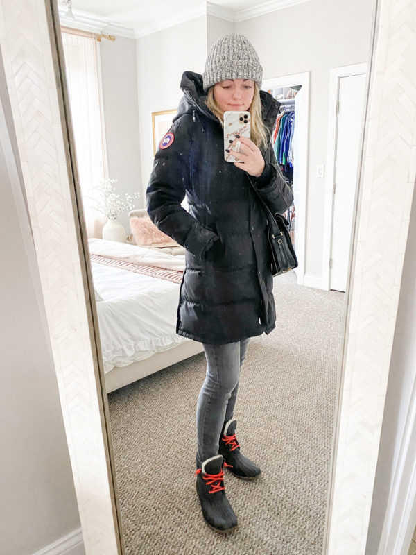 Canada Goose Selburne Parka Winter Outfit, Love Your Melon Meanie, Grey Skinny Jeans, Sperry Topsider Snow Boots with Red Laces