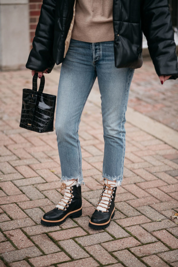 Fashion blogger wearing Marc Fisher Izzie Booties with Brahmin Faith Bag.