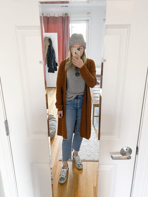 Duster Cardigan, Citizens of Humanity Charlotte Jeans, Love Your Melon Beanie, Golden Goose Leopard Glitter Outfit