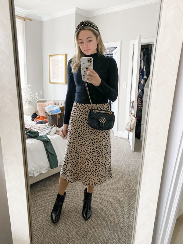 Lele Sadoughi Headband, Black Fitted Turtleneck, Sanctuary Leopard Midi Skirt, Gucci Marmont Bag Outfit