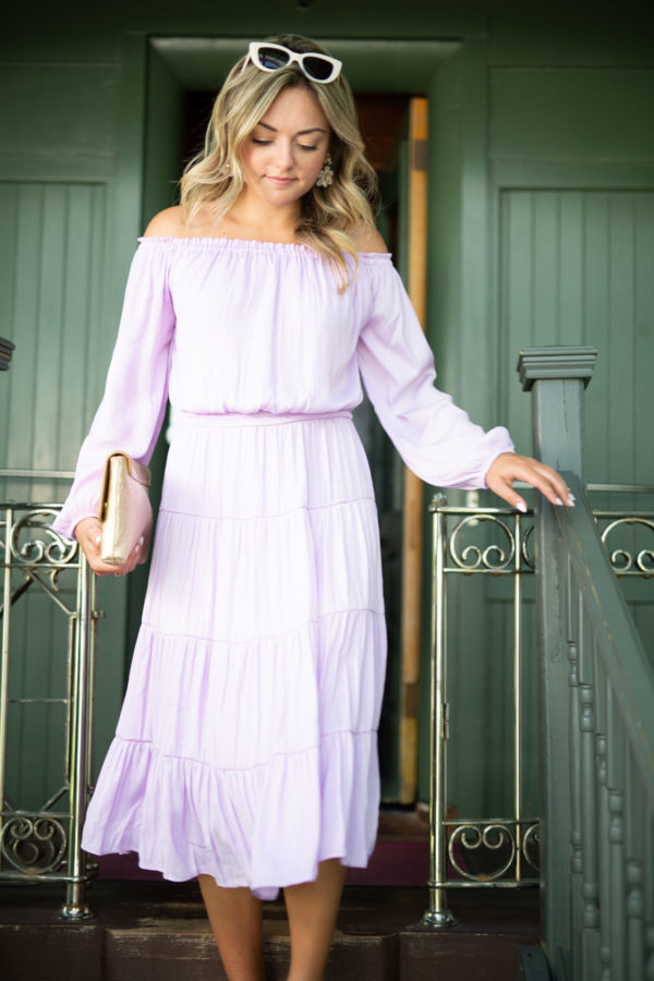 Jessica Sturdy wearing a lavender Lilly Pulitzer Dress.