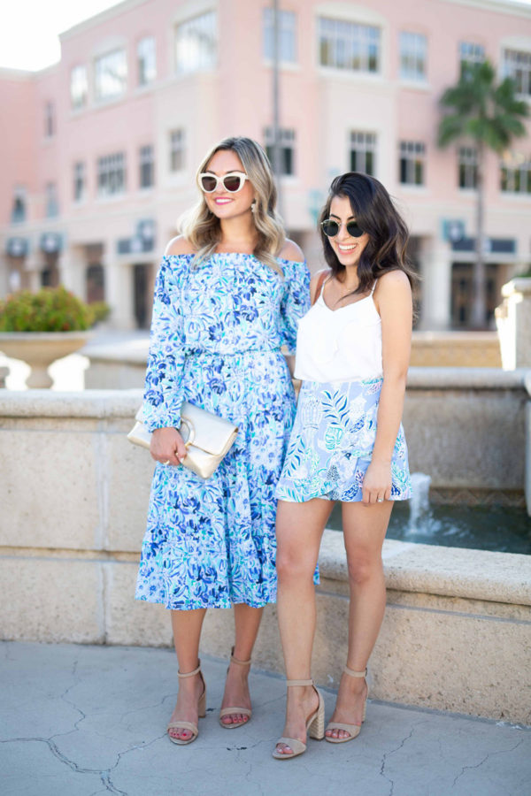 Jessica Sturdy and Below the Same Sun wearing Lilly Pulitzer in Mizner Park in Boca Raton.