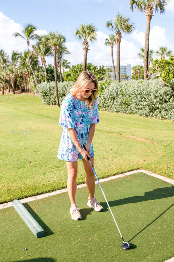 Bows & Sequins playing golf in Lilly Pulitzer in Palm Beach, Florida.