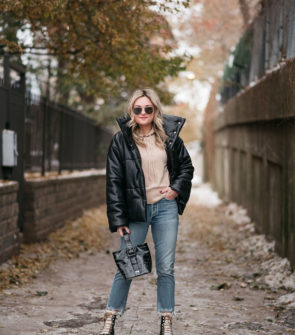 Chicago fashion blogger wearing Nanushka Puffer Coat, Vineyard Vines Hoodie, Citizens of Humanity Charlotte Crop Jeans, Marc Fisher Shearling Booties, and Brahmin Faith Bag.