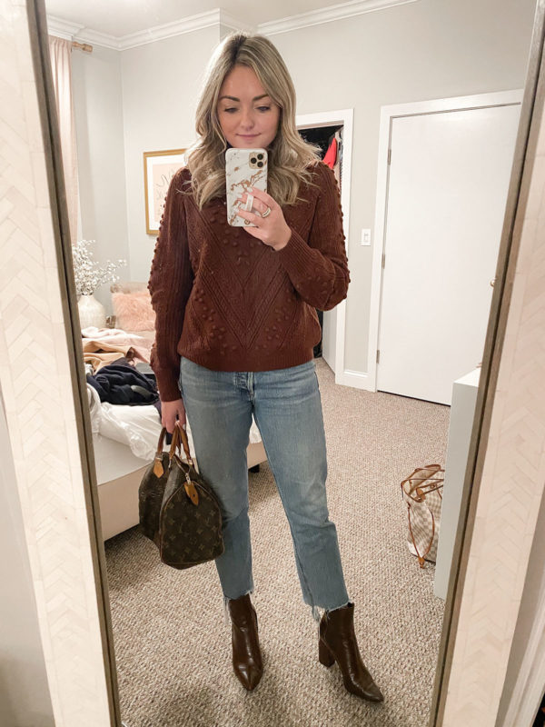 Sezane Pom Sweater, Citizens of Humanity Charlotte Jeans, Steve Madden Subtle Croc Booties, Louis Vuitton Speedy Outfit