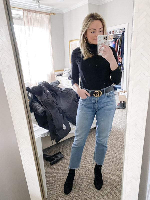 What I Wore to Brunch: Black Turtleneck, Gucci Belt, Mom Jeans, Black Ankle Booties, Gold Hoop Earrings